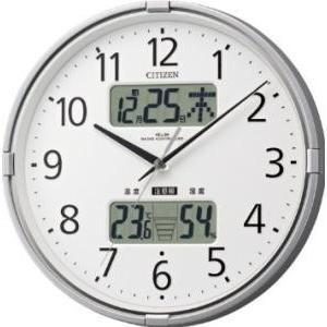 CITIZEN (シチズン) 電波 掛け時計 インフォームナビF 温度 ・ 湿度 計 警告 音付き シルバー 4FY618-019|ecjoyecj25