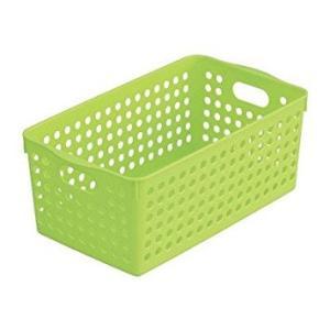 イノマタ化学 ストックバスケット/収納ボックス/整理カゴ(ワイド) グリーン サイズ:16.6×29.3高さ11.5cm|ecjoyecj27