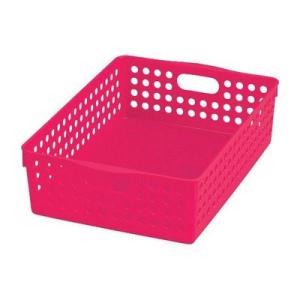 イノマタ化学 ストックバスケット/収納ボックス/整理カゴ(B5) ローズピンク サイズ:21.3×30.2×高さ8.7cm|ecjoyecj27