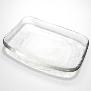 フロスト小皿 長角(ガラス器) サイズ:約11.5x8xH2cm|ecjoyecj27