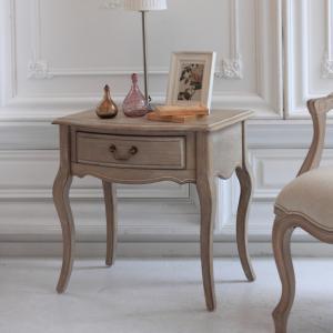 サイドテーブル アンティーク調 フレンチ シャビー 木製 引出し|eckagudepo