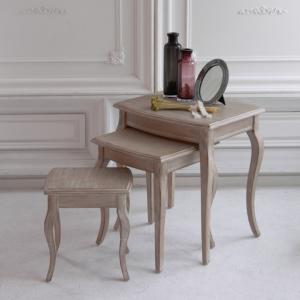 ネストテーブル サイドテーブル アンティーク調 フレンチ シャビー 木製|eckagudepo