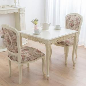 ダイニングテーブルセット アンティーク 木製 ホワイト 80|eckagudepo