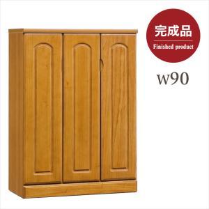 90幅ロータイプシューズボックス。シンプルなデザインの木製シューズボックスです。  ■ 送料無料にて...