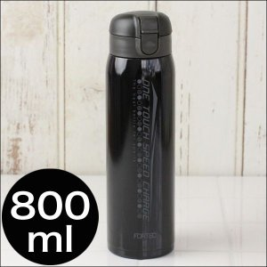 水筒 FORTECフォルテックワンタッチスリムマグボトル800ml ブラック eco-kitchen