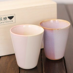 Shikisai 色彩 ペアカップ 木箱入り萩焼 湯のみ 萩焼き マグカップ 萩焼 ペアカップ 萩焼き 湯呑み|eco-kitchen