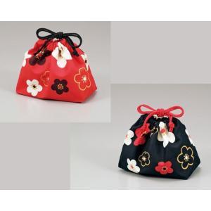 巾着袋 弁当袋 梅 お弁当箱用 ランチバッグ[朱 黒] HAKOYA(ハコヤ)