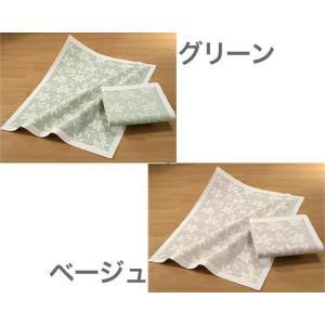 タオルケット麻混タオルケット かすり 23903グリーン ベージュ eco-kitchen