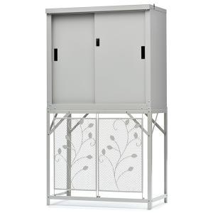 物置 屋外収納 スチール グリーンライフ エアコン室外機カバー+収納庫HS-92セット AC-78MM-HS-92 ※お客様組立品 送料無料|eco-life