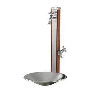 ユニソン 水栓柱一式セット スプレスタンド70 ウッドブラウン 蛇口2個セット+シャインポット ステンレスシルバー 送料無料|eco-life