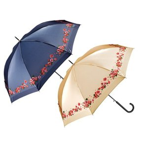 エコワン サテン傘 高級感のある光沢と華やかなバラ柄のジャンプ式長傘|eco-one