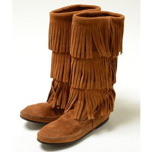 MINNETONKA Calf Hi 3-Layer Fringe Boot ミネトンカ カーフ ハイ 3レイヤー フリンジブーツ スエード ブーツ ブラウン レディース 1632 eco-styles-honey