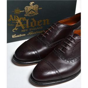 ALDEN 908 オールデン メダリオン CAP TOE チップ  Medallion Tip Bal Calfskin カーフスキン 本革 シューズ|eco-styles-honey