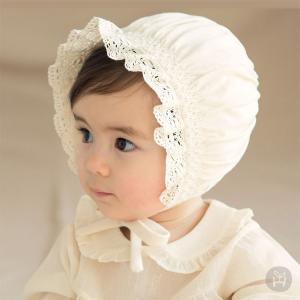 ボンネット エリーオーガニックボンネット 帽子 ハット レース フリル アイボリー コットン100% HAPPY PRINCE ベビー baby KIDS キッズ 子供服  お出かけ お宮参 eco-styles-honey