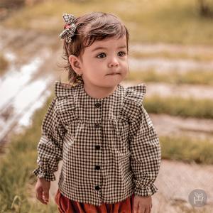 子供服 ベビー服 長袖ブラウス チェック柄 チャコールグレー ベビー KIDS キッズ HAPPY PRINCE お出かけ 発表会 1歳 2歳 女の子 シンプル 上品 フォーマル カジ eco-styles-honey