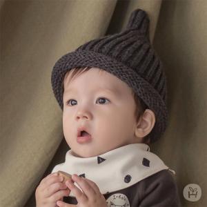 ニット帽  帽子 とんがり帽子 ブラック グレー ベージュ カーキ happy prince ベビー baby KIDS キッズ 子供服  お出かけ 0歳 1歳 2歳 48cm 誕生日 プレゼント eco-styles-honey