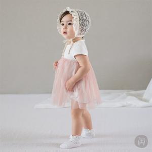子供服 ベビー服 ロンパースHAPPY PRINCE ワンピース チュチュ tutu チュールワンピース 半袖 コットン100% お出かけ 新生児 0歳 1歳 2歳 女の子 シンプル 上品 eco-styles-honey