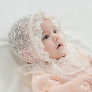 ボンネット レースボンネット 帽子 ハット レース フリル アイボリー HAPPY PRINCE ベビー baby KIDS キッズ 子供服  お出かけ お宮参り セレモニー 結婚式 新生 eco-styles-honey