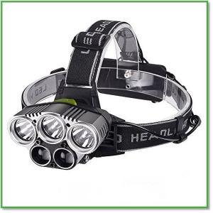 ヘッドライト LEDヘッドランプ 5灯 8000ルーメン USB充電式 超高輝度 軽量 0012|eco2