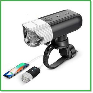 自転車ライト モバイルバッテリーUSB充電 IP65防水 光感センサー+振動センサー シルバー0086 eco2