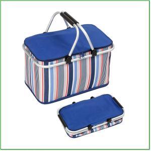 折りたたみピクニックかご、32L大容量断熱ランチかご、アルミニウム合金放熱キャンプショッピング袋クーラー 0232|eco2
