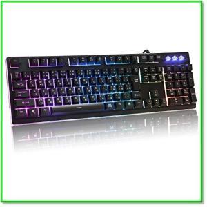 ゲーミングキーボード有線キーボードUSB防衝突7色LEDバックライト防水機能Windows MacOS対応 0555|eco2