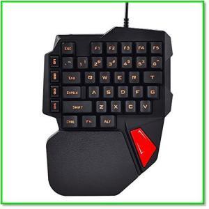 ゲーミングキーボードK108 片手キーボード ゲーミングキーパッド 左手 USBキーボード LED ブラック 0557|eco2