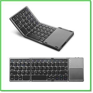 折りたたみ式Bluetoothキーボードタッチパッド搭載Windows、Android、iOS、Macに対応 0569|eco2
