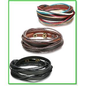 3点セット アンティーク風レザーブレスレットメンズ・レディース腕輪多重巻き長さ調節可能レザー&合金製 0667|eco2