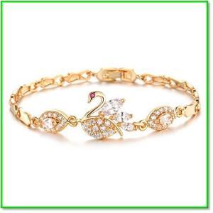 CzダイヤモンドAAA18金ゴールドフィルドスワン黄金の鳥バングルブレスレットレディース 0671|eco2