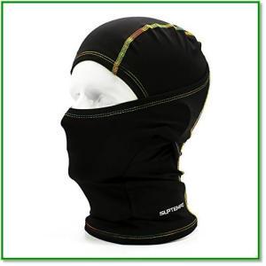フェイスマスク 多機能 目出し帽 通気速乾 UVカット バラクラバ 男女兼用 花粉症対策 アウトドア用 ブラック 1329 eco2