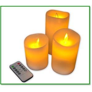 本物の炎のようにゆらめく LEDキャンドル ライト リモコン付 3個セット 日本語説明書付 1365 eco2