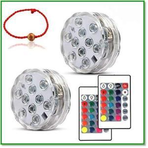 潜水ライト LED防水 マルチカラー 電池式 リモコン付き IP68防水 花瓶 水槽 金魚鉢 風呂 2点セット 1384 eco2