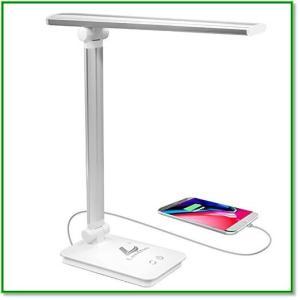 デスクライトLED卓上ライト折りたたみ式タッチセンサー三段階調光五段階調色USB充電ポート付き180°調節可能 1410 eco2