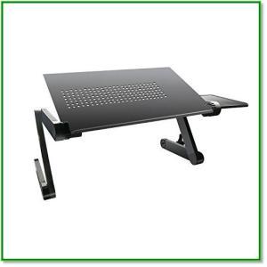 折り畳み式 ノートパソコン スタンドパソコンデスク 高さ姿勢角度調整可能 アルミ製 42cmマウス台付き 1462|eco2