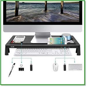 モニター台 机上台 パソコンスタンド 大容量 USBポート付き 収納便利 ブラック 1466|eco2