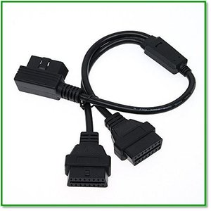 CarAngels OBD2用 16PIN 延長 2分岐 ケーブル50cm ハーネス 2ポート L型 1651|eco2