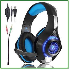 PCゲーミングヘッドセット 有線3.5mm ステレオ 騒音隔離 伸縮可能 マイク付 軽量 ブルー 1655|eco2