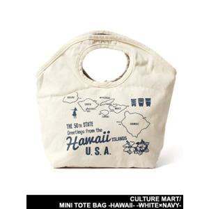 カルチャーマート CULTURE MART バッグ トートバッグ ミニトート 手提げ鞄 カバン ホワイト×ネイビー 男女兼用 MINI TOTE BAG -HAWAII- -WHITE×NAVY-|ecoandstyle
