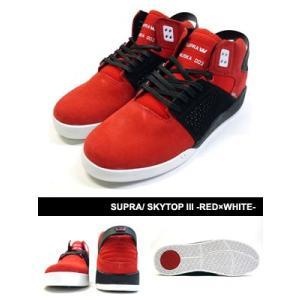 スープラ SUPRA スニーカー シューズ 靴 スケシュー ストリート スケート スケボー セレブ 人気 メンズ SKYTOP III -RED×WHITE-|ecoandstyle