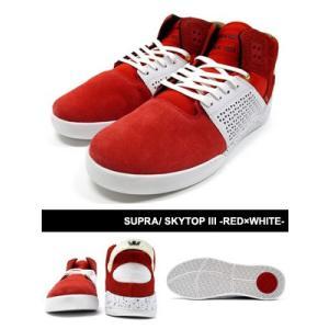 スープラ SUPRA スカイトップ3 スニーカー 靴 スケシュー 赤/白 ストリート スケート スケボー メンズ SKYTOP III -RED×WHITE-|ecoandstyle