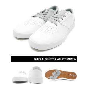 スープラ SUPRA シフター スニーカー 靴 ローカット 白/グレー スケシュー ストリート スケート スケボー メンズ SHIFTER -WHITE×GREY-|ecoandstyle