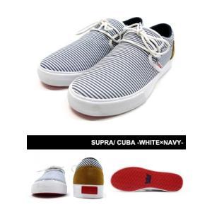 スープラ SUPRA スニーカー シューズ 靴 スケシュー ストリート スケート スケボー セレブ 人気 メンズ CUBA -WHITE×NAVY-|ecoandstyle