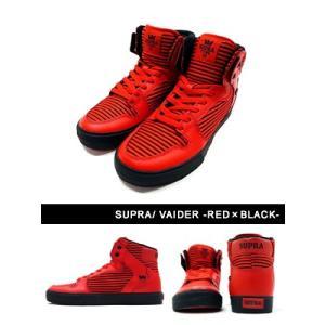 スープラ SUPRA スポーツ スニーカー ストリート セレブ ブランド スケートボード レッド 赤 メンズ VAIDER -RED×BLACK-|ecoandstyle