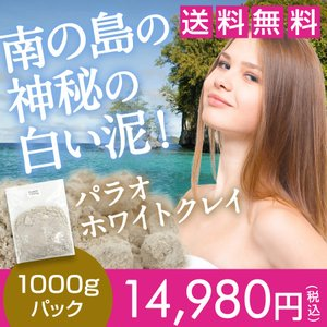 送料無料 パラオホワイトクレイパック原材料 パラオ白泥1000g☆44s10|ecoearth