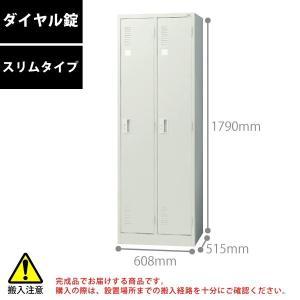 【LKシリーズ】 2人用ロッカー(スリムタイプ/ダイヤル錠) LK-22D W608×D515×H1790mm|ecofit