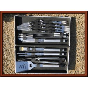 最新型 BBQ調理器具セット バーベキュー 17点セット バーベキューセット  まとめ買い 持ち運びやすい アタッシュケース 送料無料 y 新品 ecofuture