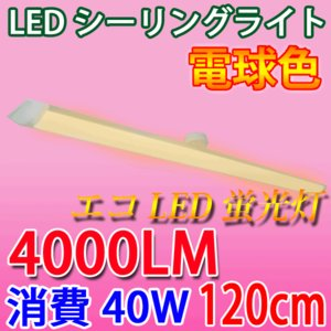 LEDシーリングライト4000LM ワンタッチ取付 40W 電球色 6畳以上用 CLG-40WZ-Y|ecoled