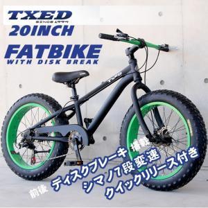 ファットバイク ビーチクルーザー 自転車 20インチ FATBIKE シマノ7段変速 ディスクブレーキ クイックリリース|ecolife-araisk2011