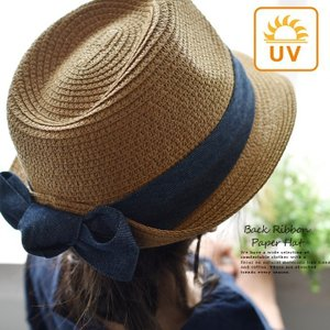 帽子 UV リボン ペーパーハット 麦わら帽子 レディース ...